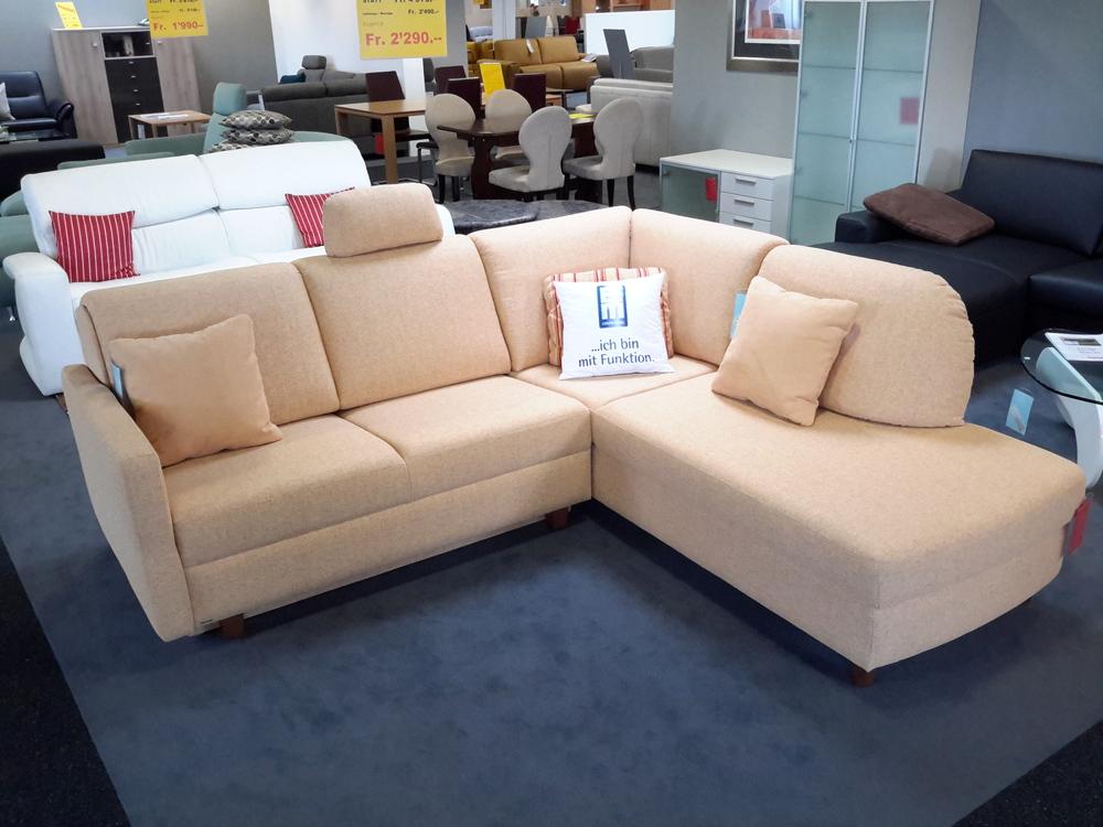 ecksofa mit schlaffunktion in stoff beige m bel waeber webshop. Black Bedroom Furniture Sets. Home Design Ideas