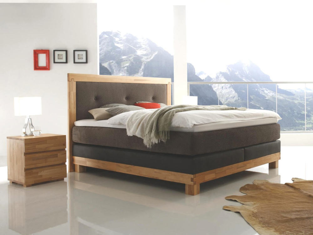 massiva boxspringbett mit holzrahmen m bel waeber webshop. Black Bedroom Furniture Sets. Home Design Ideas