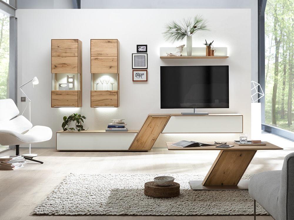 Wohnwand RAMOS in Astbuche oder Asteiche massiv - Möbel Waeber Webshop