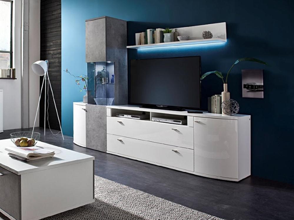 wohnwand livorno hochglanz weiss mit beton look m bel waeber webshop. Black Bedroom Furniture Sets. Home Design Ideas