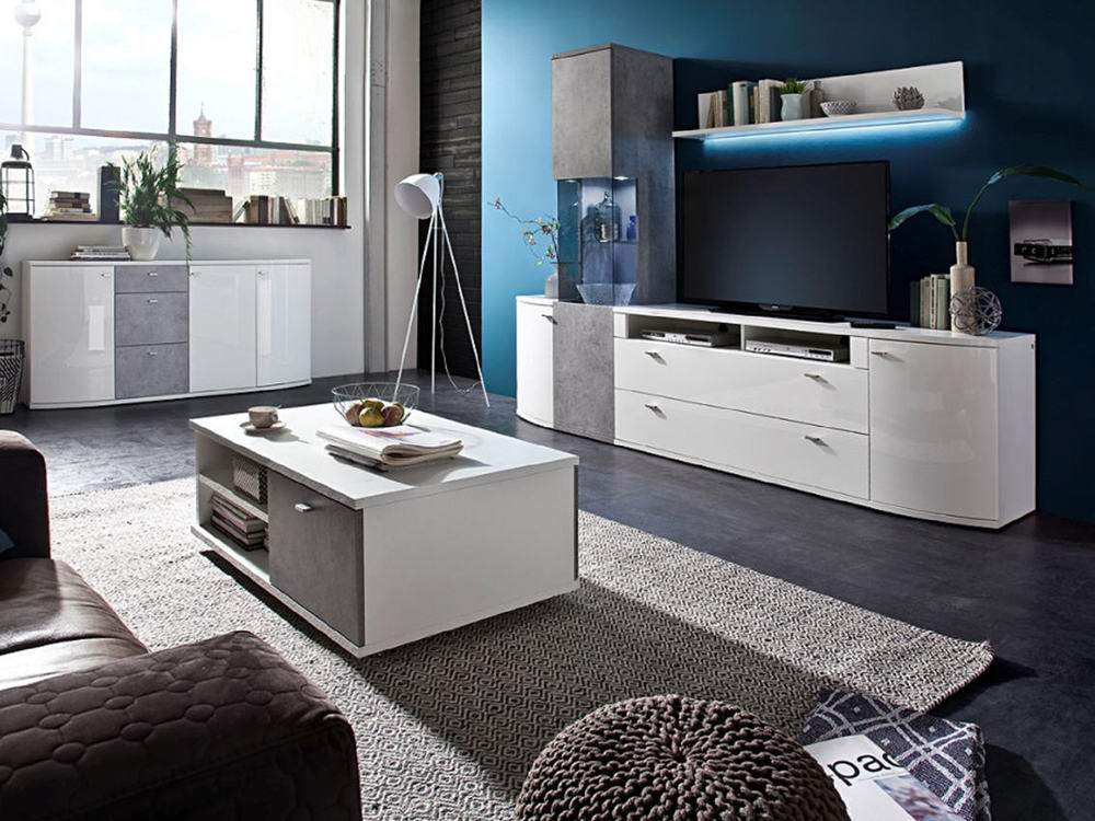 sideboard livorno hochglanz weiss mit beton look m bel waeber webshop. Black Bedroom Furniture Sets. Home Design Ideas