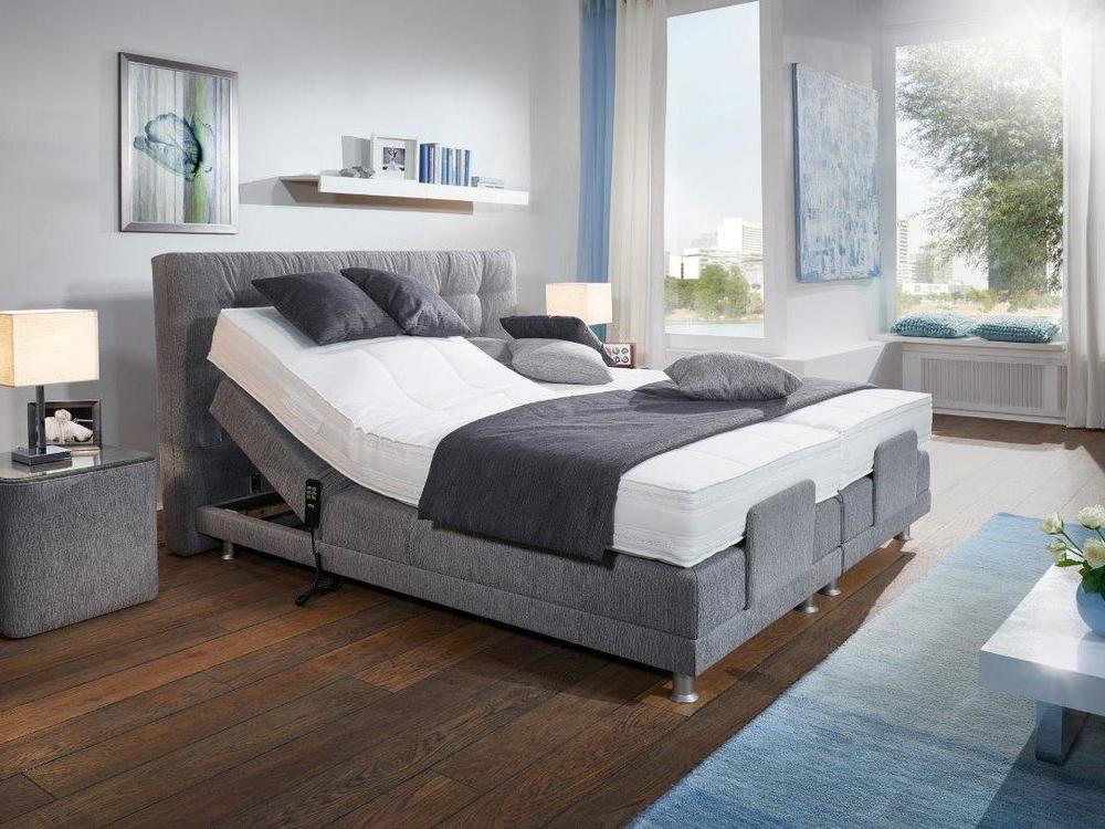 boxspring bett modena stoff grau mit motor m bel waeber webshop. Black Bedroom Furniture Sets. Home Design Ideas