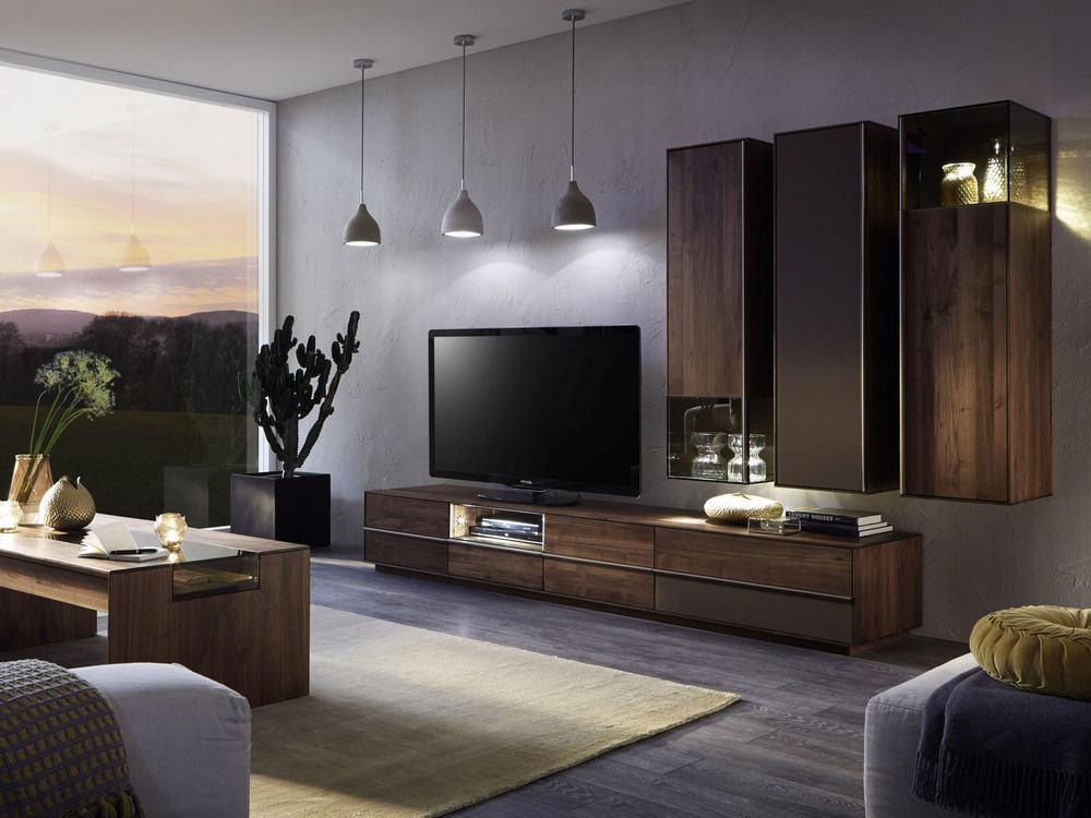 wohnwand saluto in asteiche massiv oder nussbaum massiv. Black Bedroom Furniture Sets. Home Design Ideas
