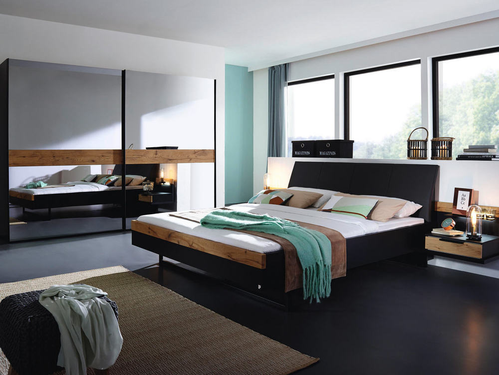 schlafzimmer in wildeiche mit schwarz oder fango m bel waeber webshop. Black Bedroom Furniture Sets. Home Design Ideas