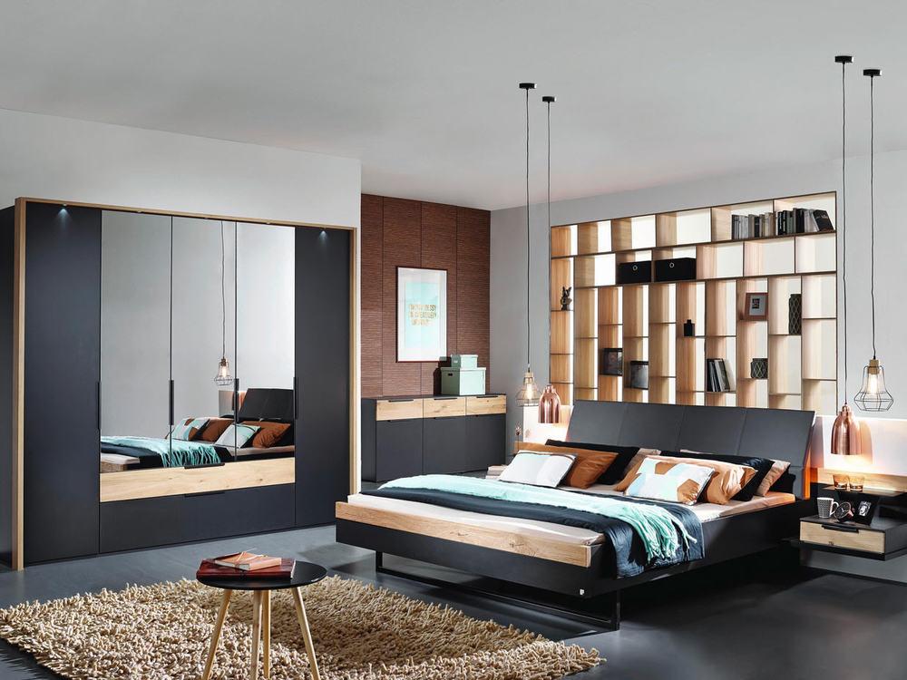 schlafzimmer in wildeiche mit schwarz oder fango m bel waeber webshop. Black Bedroom Furniture Sets. Home Design Ideas