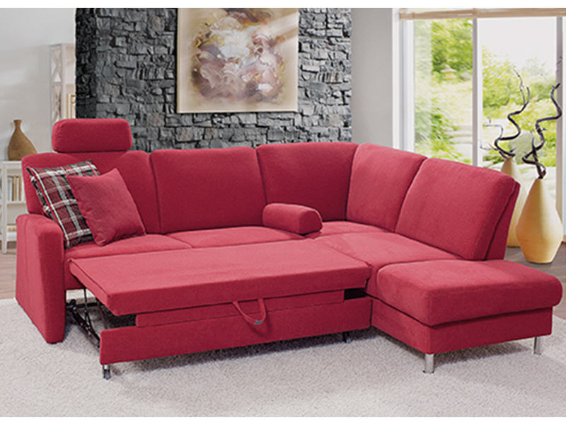 sofa valencia mit bettauszug und kopfst tze in stoff rot. Black Bedroom Furniture Sets. Home Design Ideas