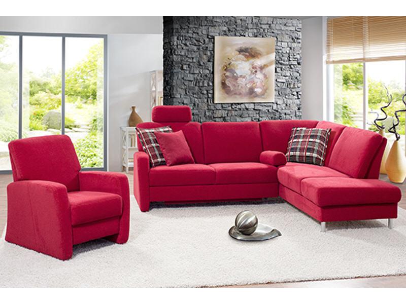 Sofa valencia mit bettauszug und kopfst tze in stoff rot for Outlet sofas valencia
