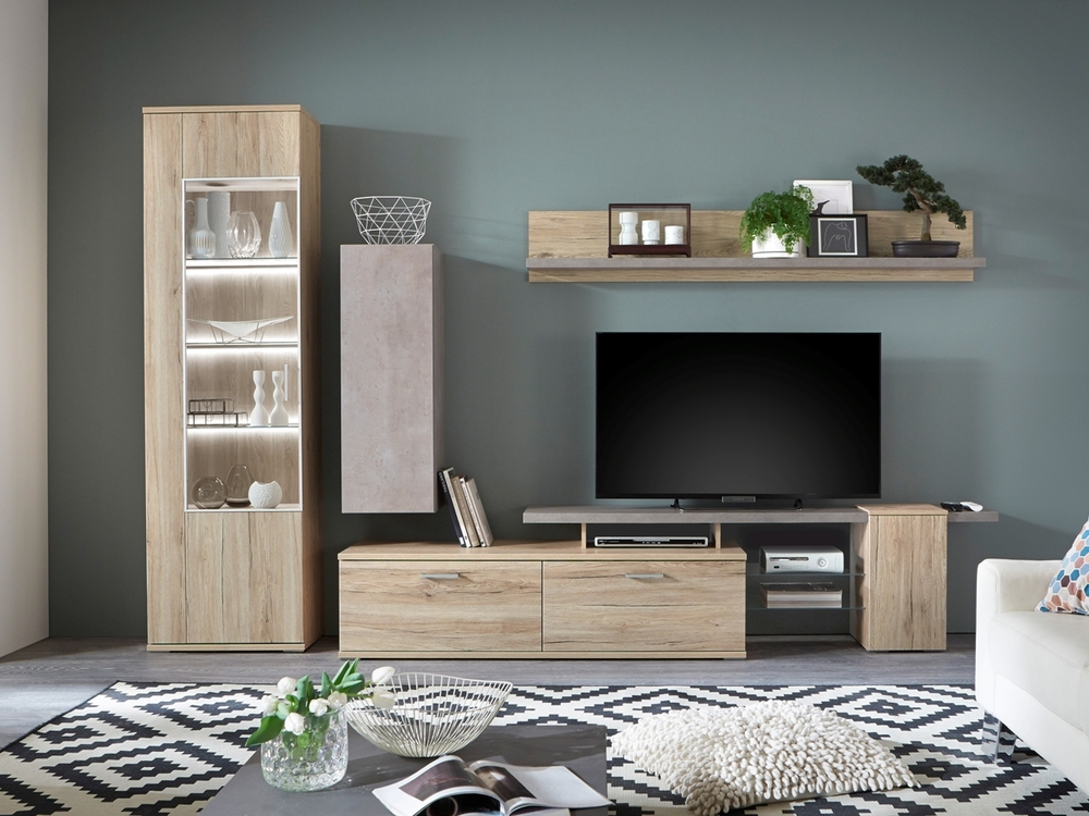 wohnwand in san remo eiche m bel waeber webshop. Black Bedroom Furniture Sets. Home Design Ideas
