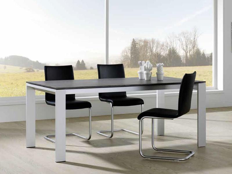 vierfuss esstisch mit verl ngerung in glas holz oder hpl m bel waeber webshop. Black Bedroom Furniture Sets. Home Design Ideas