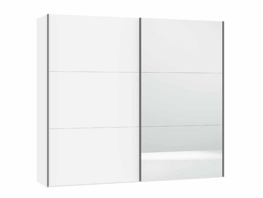 kompakt schiebet ren schrank front weiss mit spiegel m bel waeber webshop. Black Bedroom Furniture Sets. Home Design Ideas