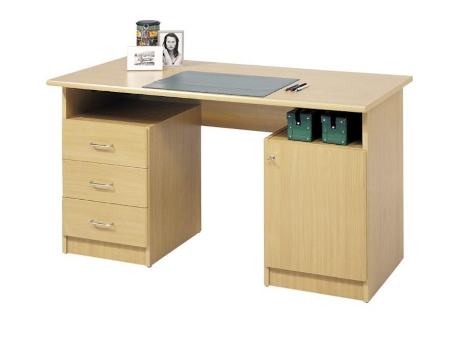 uno schreibtisch buche mit 3 schubladen und 1 t re mit. Black Bedroom Furniture Sets. Home Design Ideas